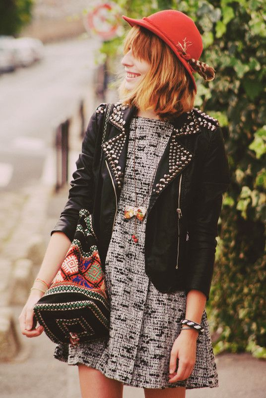 studded jacket, embroidered bag, bow necklace, red hat with feather, worn by typhaine a.