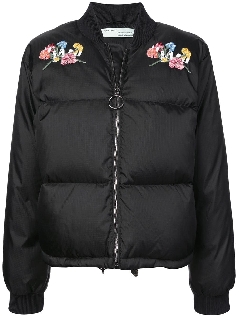 Off White Embroidered Puffer Jacket Black Embroidered Bomber