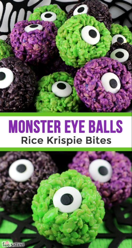 Monster Eye Balls Rice Krispie Bites #halloweendesserts