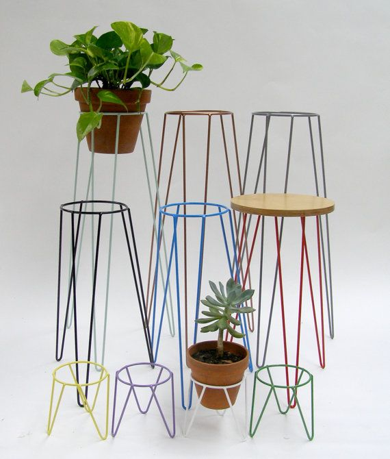 Yellow Metal Wire Plant Stand Mid