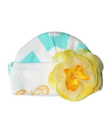 This Aqua & White Flower Beanie is perfect! #zulilyfinds
