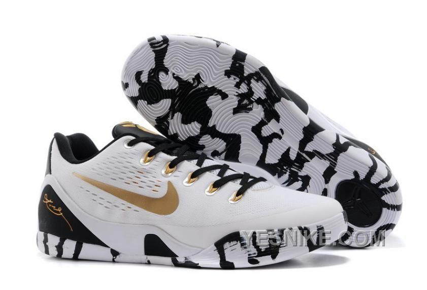 Big Discount  66 OFF Nike Kobe 9 Low EM XDR White Black Gold Mens Basketball Shoes