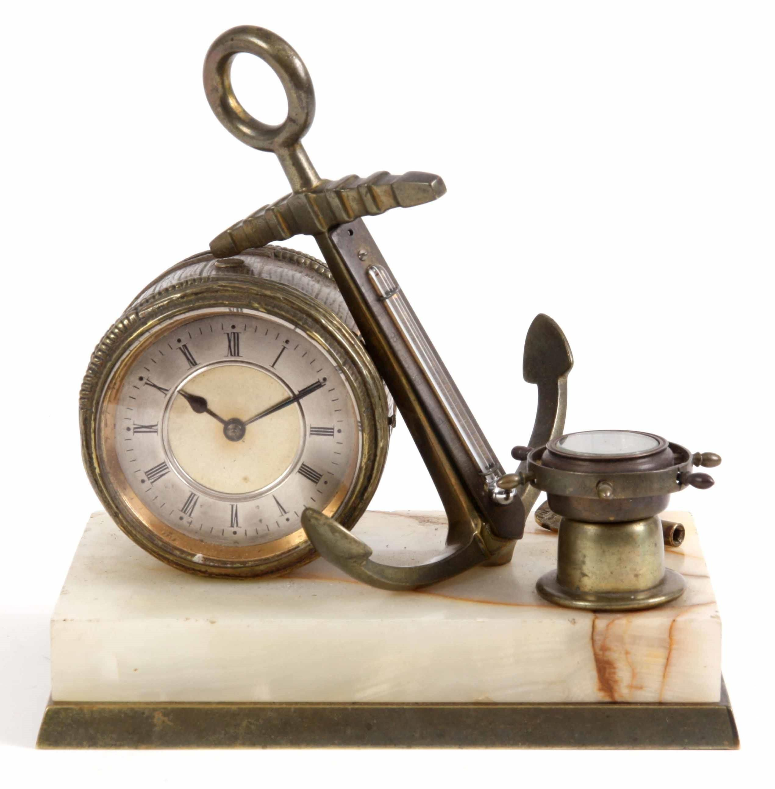 A Late 19th Century Nautical French Industrial Desk Clock Formed As A Barrel Enclosing A 2 5 Sil Desk Clock Novelty Clocks Clock