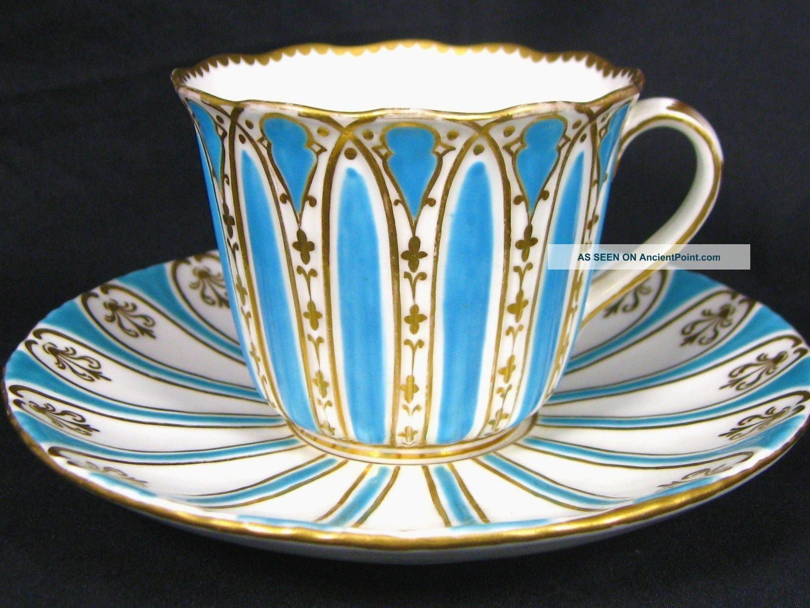 1830 Davenport Turquoise Enamel Fancy Gold Tea Cup And Saucer Marriage Cups & Saucers
