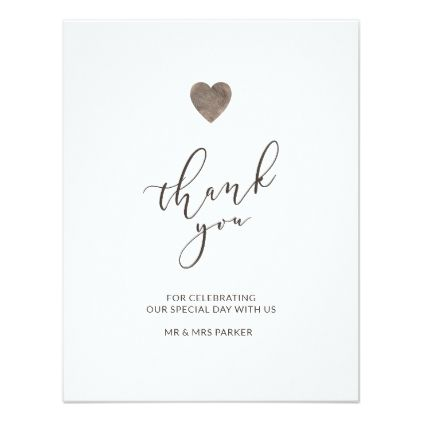 Rustic Wood Heart Thank You Card Flat Zazzle