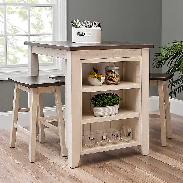 32 Stylish Dining Room Ideas To Impress Your Dinner Guests: White 3-pc. Franklin Kitchen Island And Stools Set In 2020