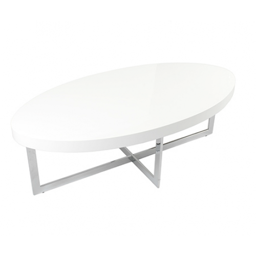 Oval Coffee Table With Metal Legs: Modern White High Gloss Oval Coffee Table
