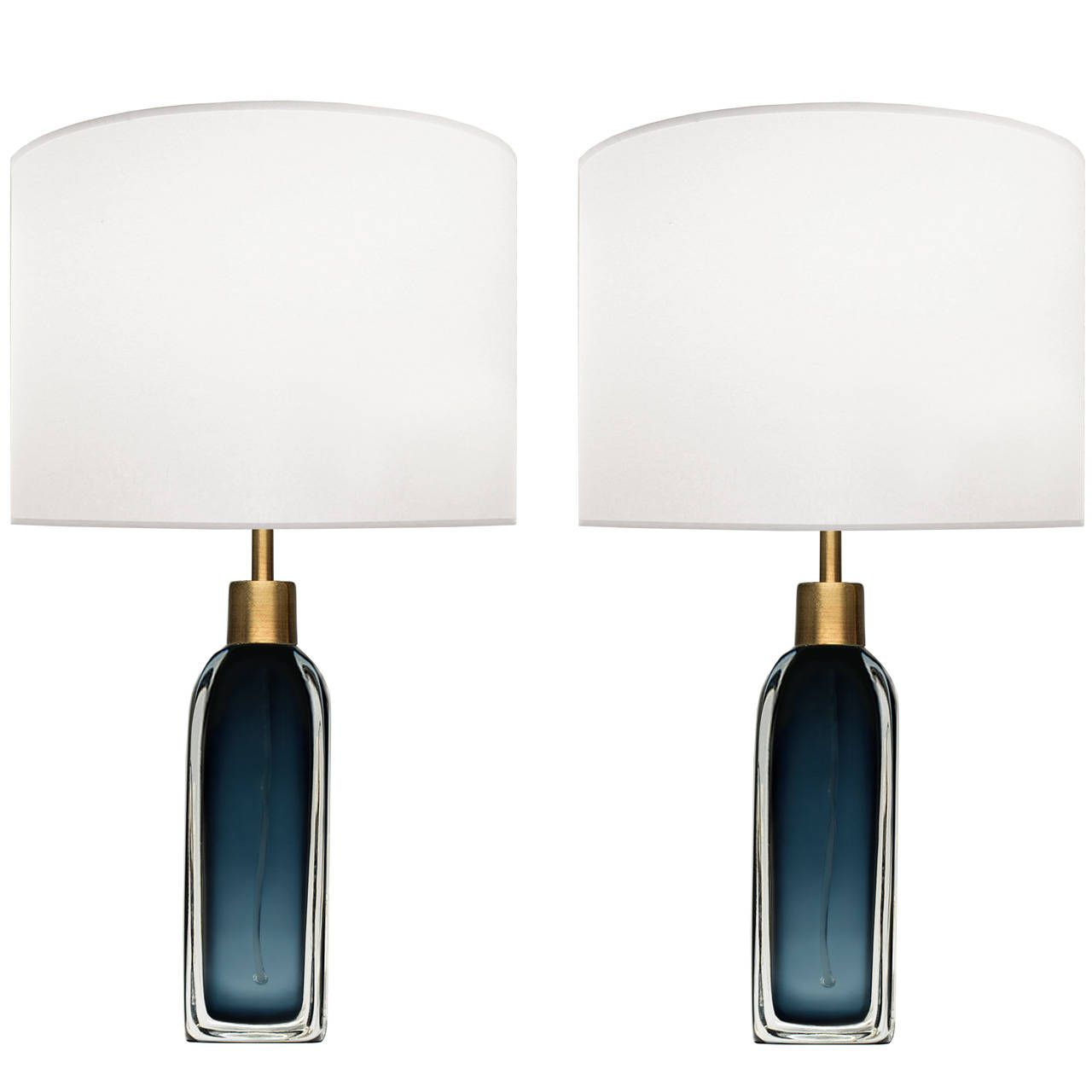 Pair Of Nils Landberg For Orrefors Blue Glass Lamps From A