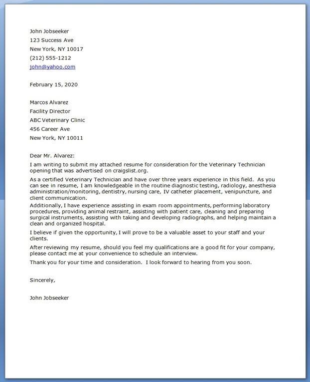 Vet Tech Cover Letter  Creative Resume Design Templates