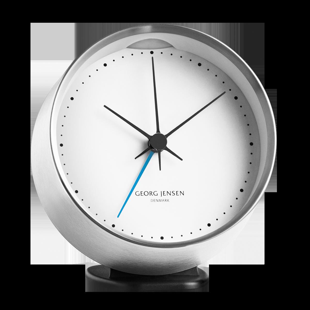 Hk Clock W Alarm Steel White 10 Cm Clock Alarm Clock Contemporary Clocks