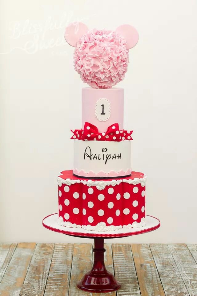 Minnie Mouse Cake First Birthday Polka Dots Red popcake