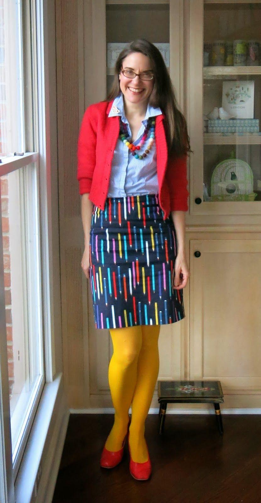 Love the fun play on pencil skirt its fun when fashion