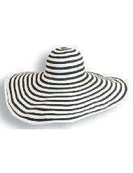 fac56feb395 Black   White Extra Large Brim Womens Sun Hat by Dorfman Pacific ...