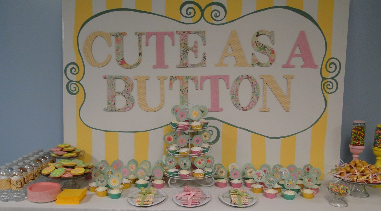 Cute As A Button Baby Shower Theme   Had Painted The Backdrop. The Letters  Are Just Wood Craft Letters .