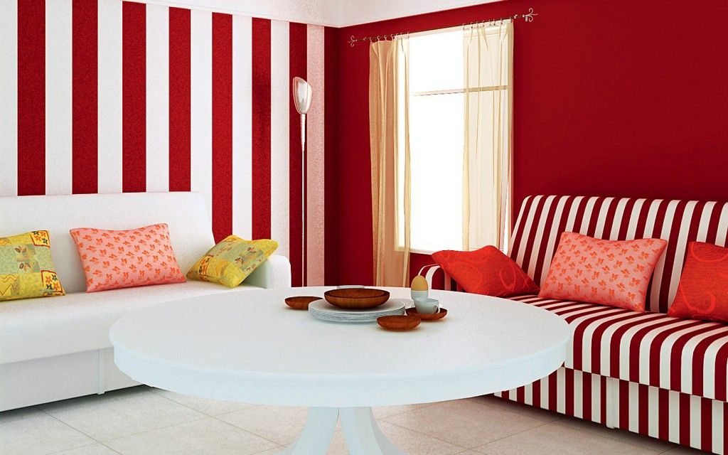 interior design minimalist living room design ideas with red and white stripes wall color decorating and white sofa red and white interior design color - Interior Design Color Ideas