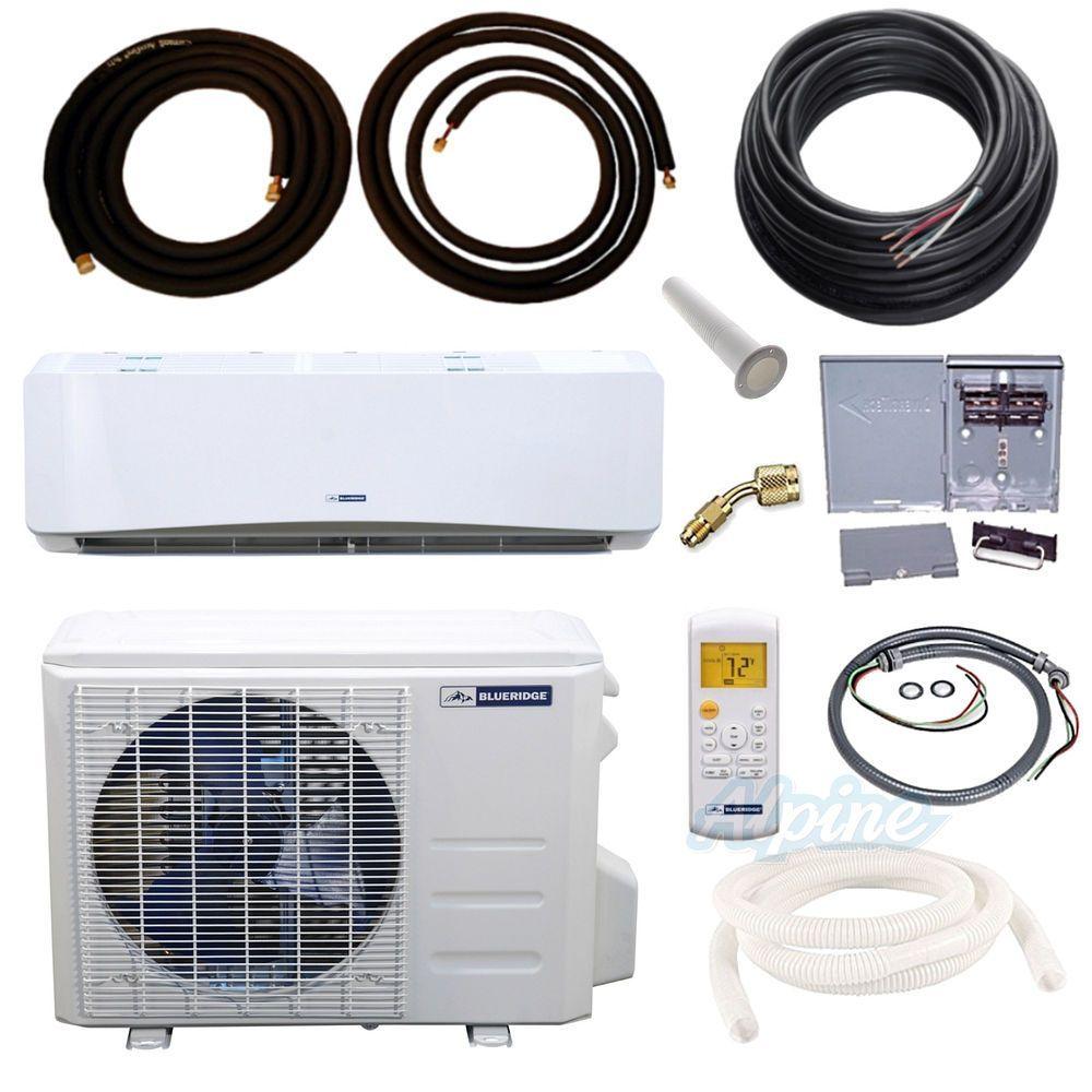 Blueridge Bm12y18 Kit 12 000 Btu 1 Ton 17 5 Seer Mini Split Heat Pump Kit Wifi Capable Heat Pump Ductless Mini Split Ductless