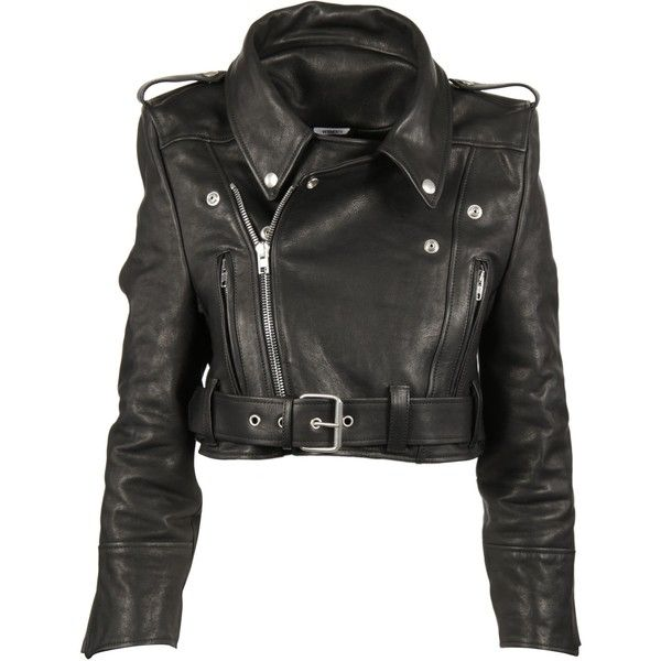 2dba18c24 Vetements Cropped Leather Biker Jacket ($2,280) ❤ liked on Polyvore ...