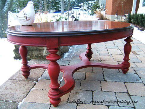 Red Painted Coffee Table  Jerome  is part of Red Home Accessories Coffee Tables - This red painted coffee table has been refinished with Antique Walnut Gel Stain by General Finish and painted with Annie Sloan Chalk Paint in Emperor's Silk
