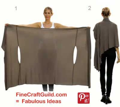 Make Your Own Bina Wrap Cardigan.  You can also do this no-sew by just cutting two slits in a big piece of fabric.  I gotta do this!