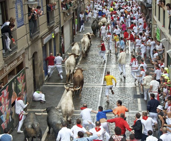 Running of the Bulls... during the San Fermin Festival in Pamplona, Spain