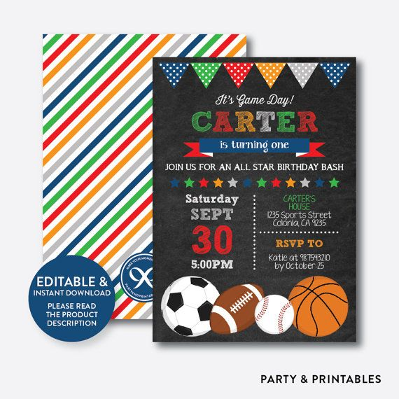 b7d493aac673e Instant Download Editable All Star Birthday Invitation All | Kids ...