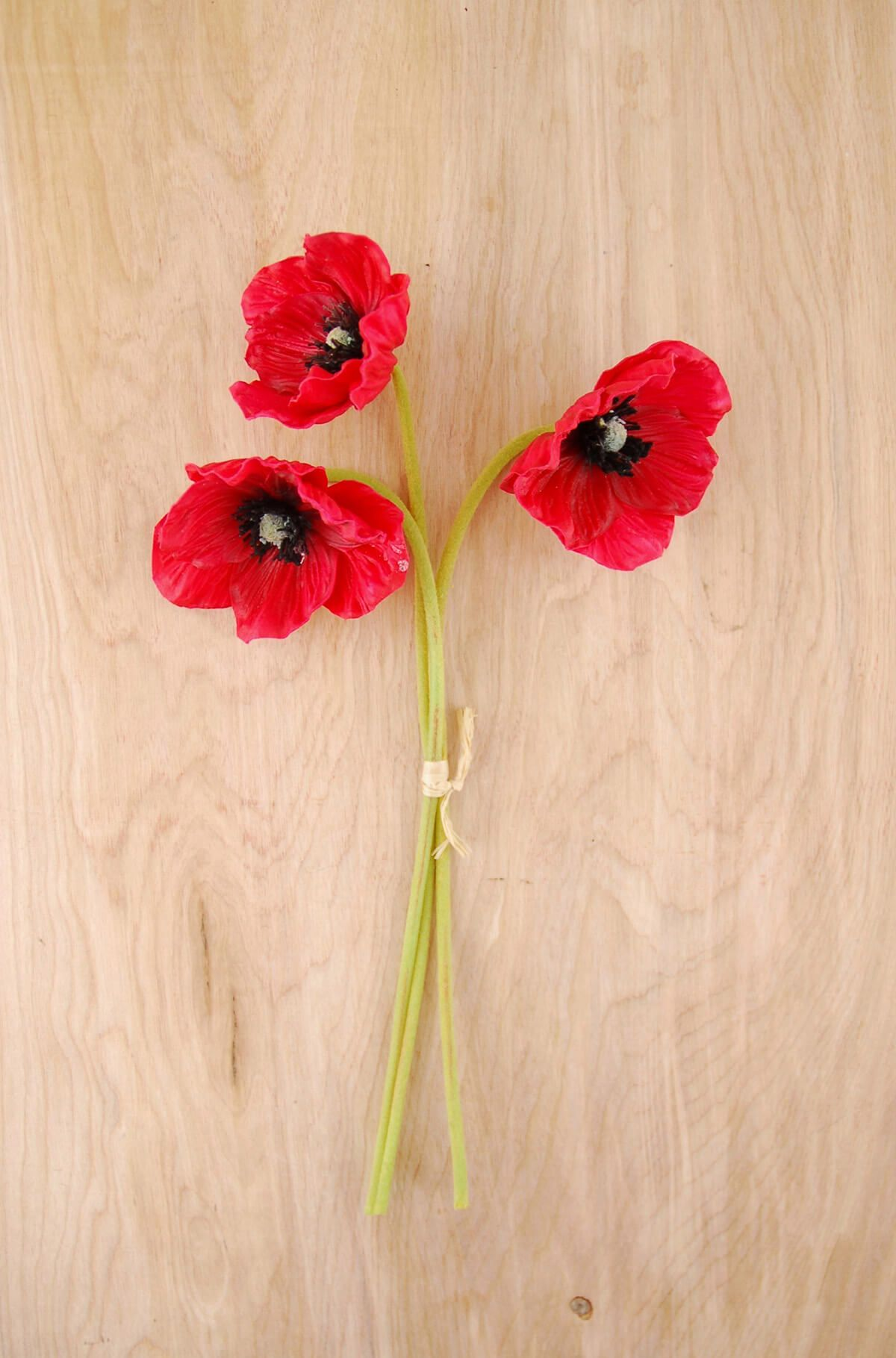 Bundle of artificial poppies poppy flowers flowers and gardens 3 red natural touch poppy flowers mightylinksfo