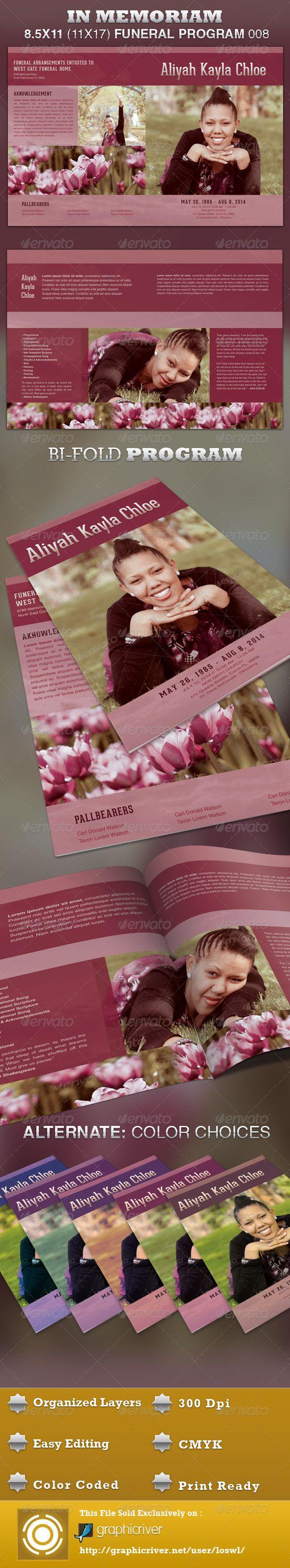 In Memoriam Funeral Program Template 008 | Pinterest | Program ...