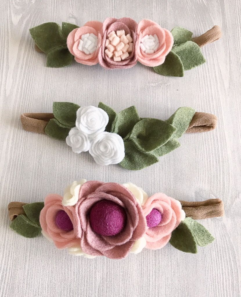 Blush pink, rose, white, ivory, fuchsia, purple felt flower crown headbands #feltflowerheadbands