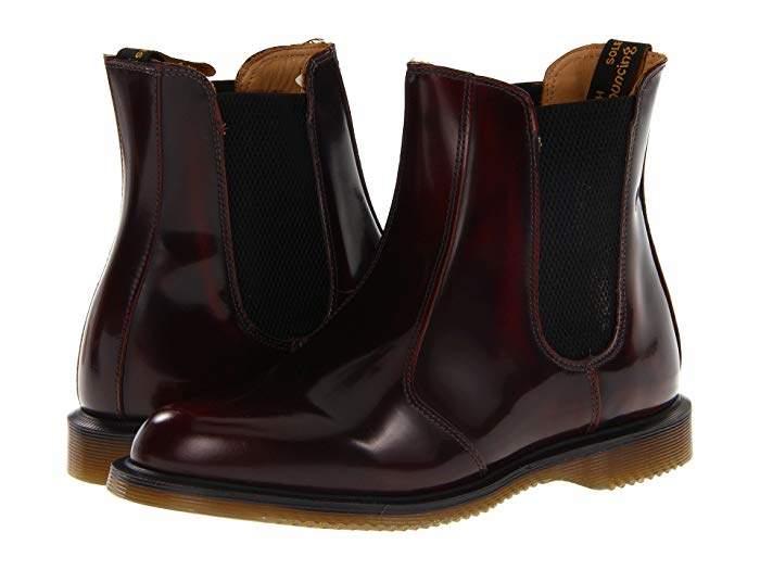 Dr. Martens Flora Chelsea Boots Burgundy Classic Rub Off