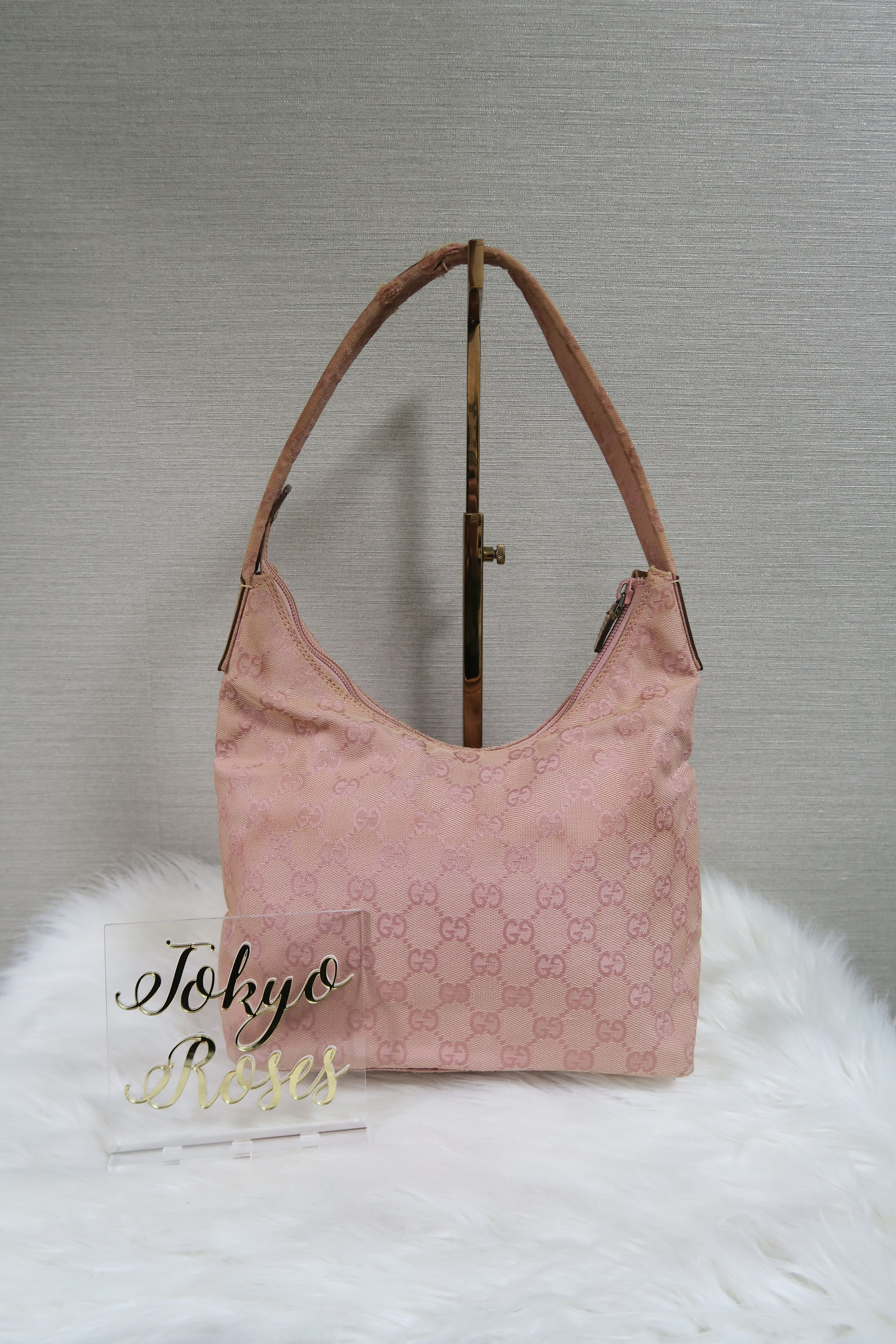 Pink Gucci GG Monogram Canvas Bag Beige Leather Strap