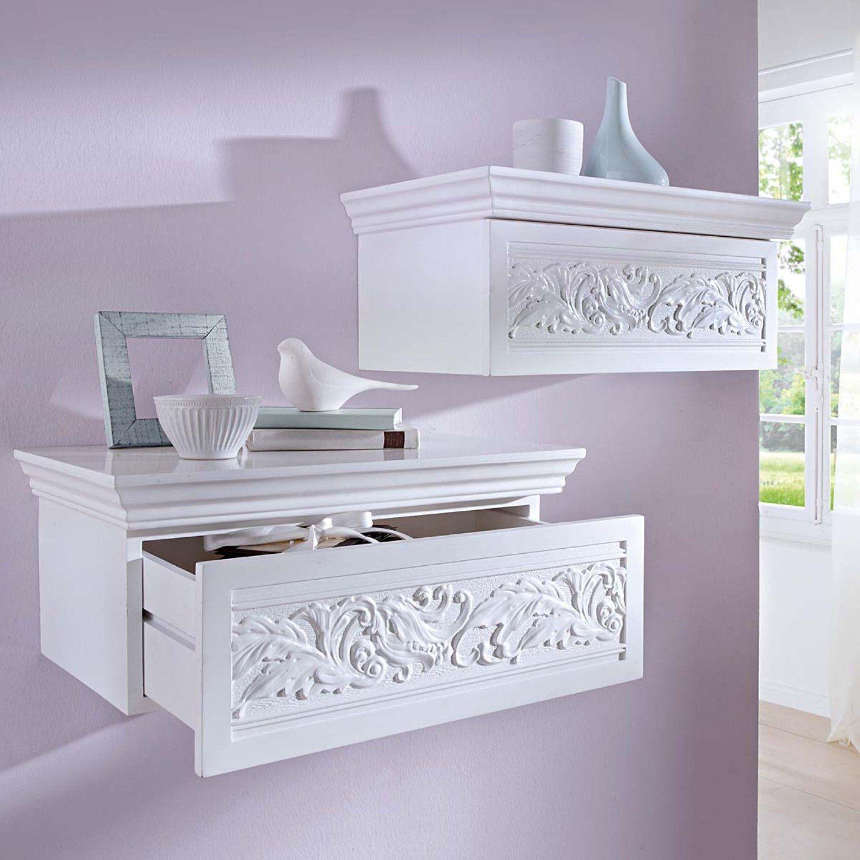 Vintage Style Wall Shelf with Drawer White Amazon Kitchen