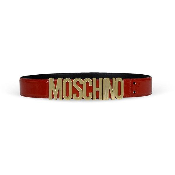 Moschino Belt (385 CAD) ❤ liked on Polyvore featuring accessories, belts, red, adjustable leather belt, moschino, genuine leather belt, moschino belt and red leather belt