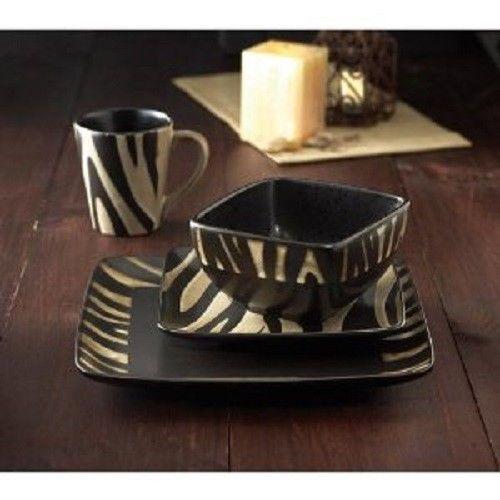 Square Animal Zebra Print Dishes Dinnerware Tableware Dish