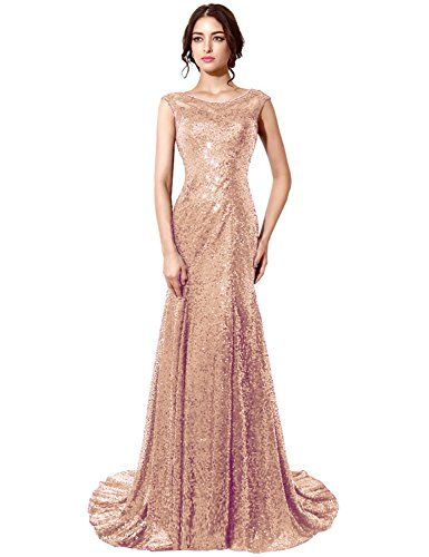 MACloth Women Mermaid Sequin Long Prom Dress Formal Evening Wedding Party Gown (EU32, Golden)