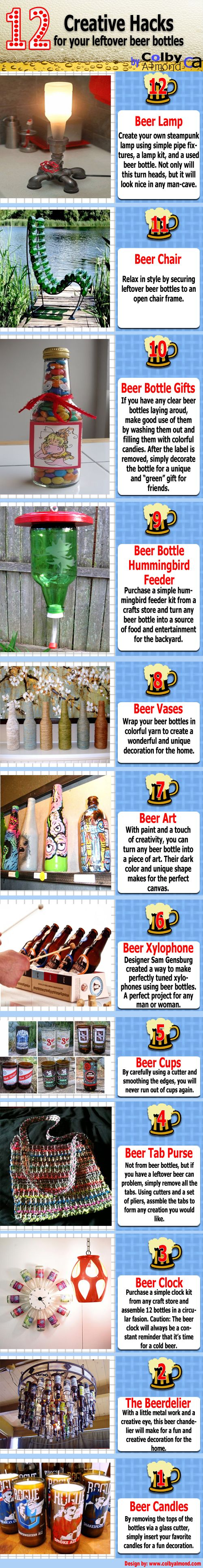 12 creative & crafty ways to reuse beer bottles! Check it out!