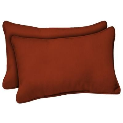 Hampton Bay Chili Red Solid Outdoor Lumbar Pillow 2 Pack Wc09121x 9d2 The Home Depot Durable Outdoor Fabric Chili Red Red Patio