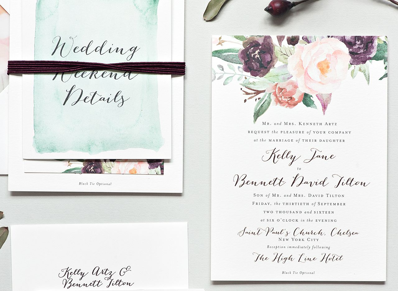 Fine Stationery Wedding Invitations: New York City Inspired Floral Watercolor Wedding