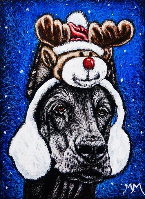 """""""Rudolph Ear Muffs"""" original fine art by Monique Morin Matson"""