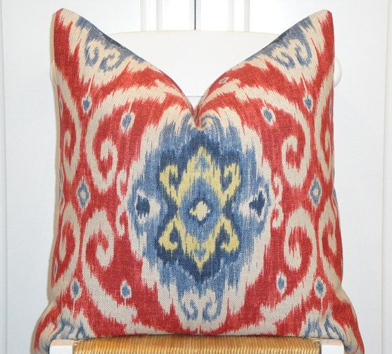 IKAT 40x40 40x40 Decorative Pillow Cover Red Blue Yellow Extraordinary 22x22 Decorative Pillows