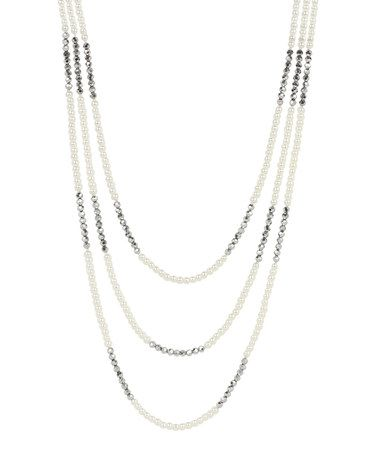 Another great find on #zulily! White & Smoky Faux Pearl Multi-Strand Necklace #zulilyfinds
