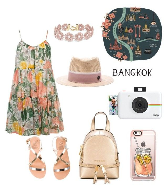 """""""bangkok"""" by martyswordrobe on Polyvore featuring Dorothy Perkins, Ancient Greek Sandals, MICHAEL Michael Kors, Maison Michel, BaubleBar, Casetify, Rifle Paper Co and Polaroid"""