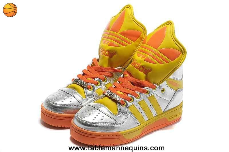 Buy Adidas X Jeremy Scott Big Tongue Shoes Silver Yellow For Wholesale
