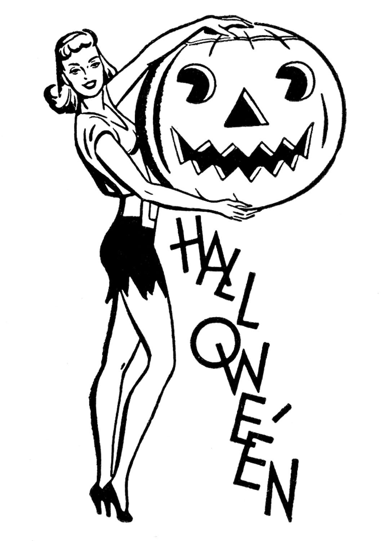6 Halloween Retro Clipart
