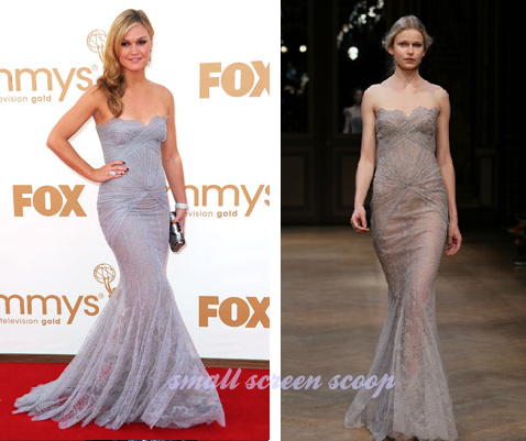 Julia Stiles Emmy's 2011 Lilac Lace Dress by Georges Hobeika Fall 2011 Couture