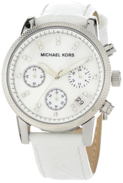 Michael Kors Watches White Leather Chronograph with Stones
