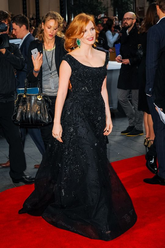 """Jessica Chastain in a black Elie Saab Couture gown 