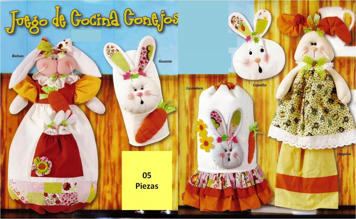 Patr n juego de cocina conejos patrones mu ecos cojines for Gueco de cocina