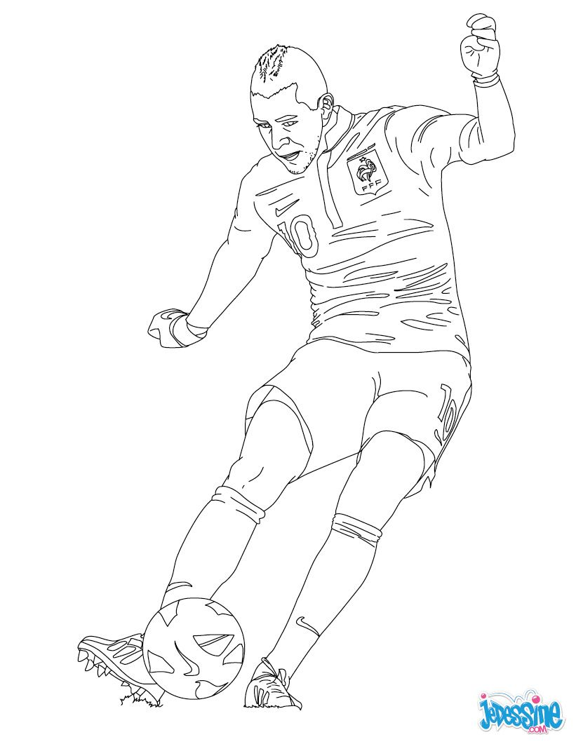 Coloriage Equipe De France Football 2018.Coloriage Karim Benzema A Fond Le Foot Coloriage Joueur De