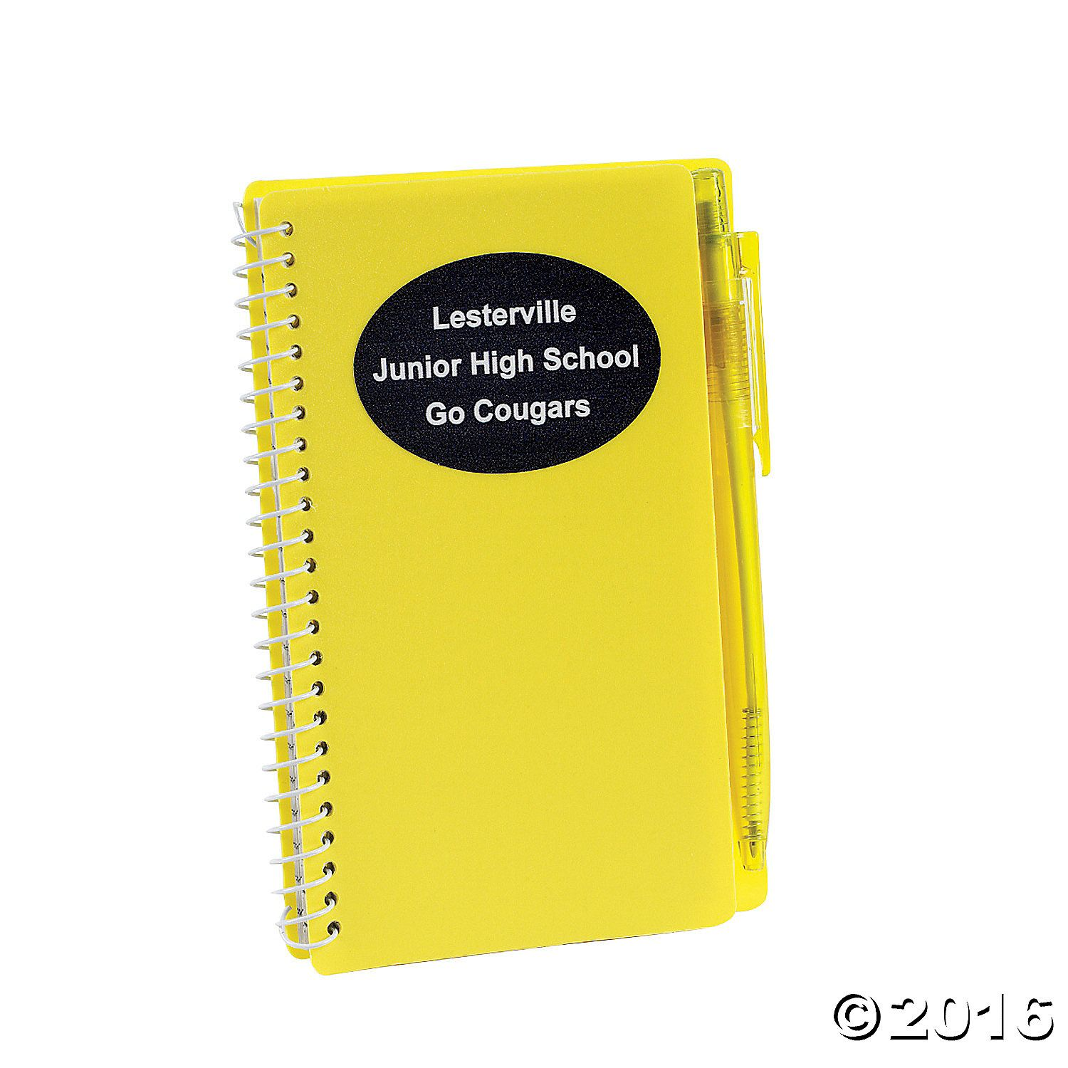 Personalized Yellow Spiral Notebook