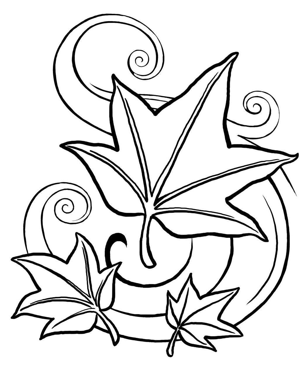 Free coloring pages for autumn - Autumn Leaves Coloring Page Free Printable Coloring Pages